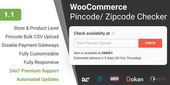WooCommerce Pincode/ Zipcode Checker v1.1.4