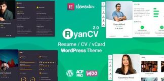 RyanCV - CV/Resume WordPress Theme