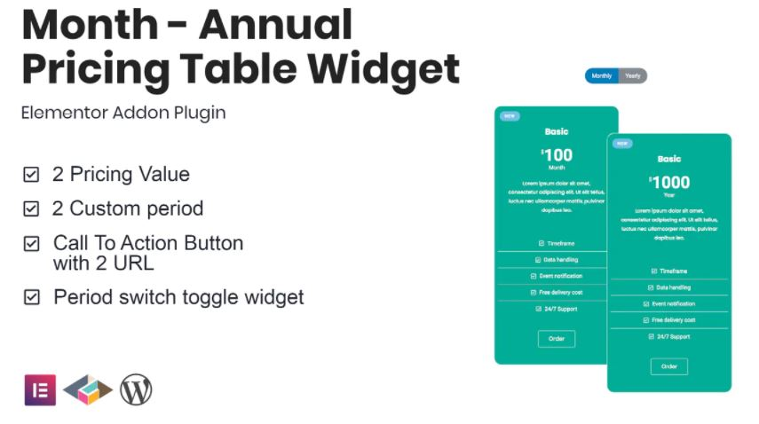 Month v1.1.0 – Annual Pricing Table Widget For Elementor