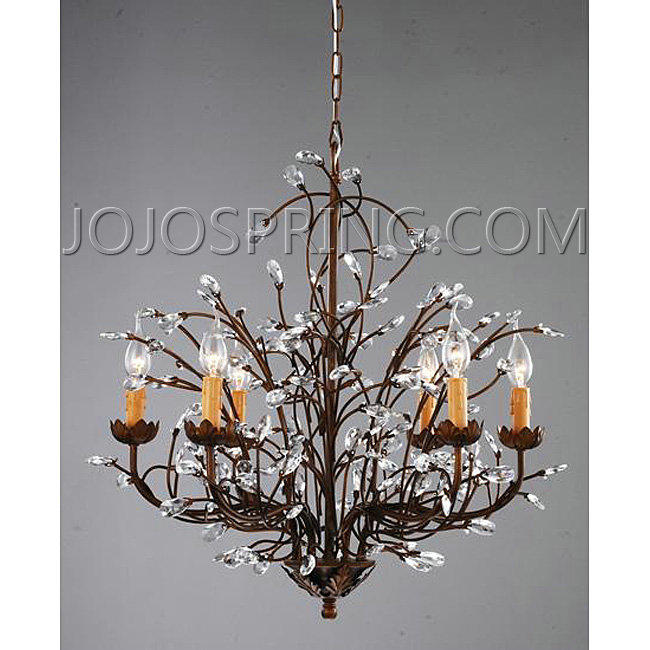 Antique Bronze 6 Light Crystal And Iron Chandelier Bc206