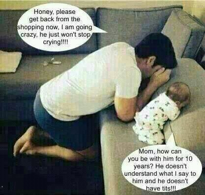 father and baby praying - funny