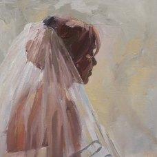 Sabine, olieverf op paneel, 30 x 30 cm