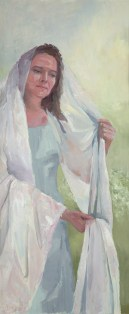 Vrouwenmantel I, olieverf op paneel, 50 x 122 cm