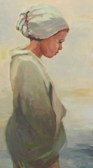 Vrouwenmantel III, olieverf op paneel, 40 x 71 cm
