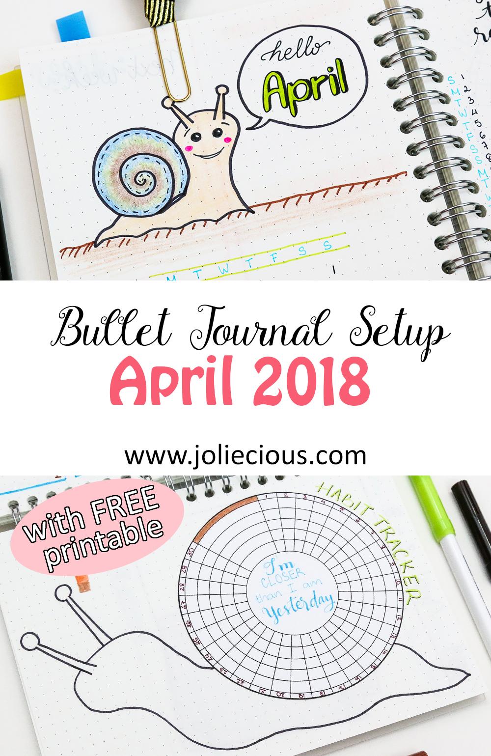 April 2018 Bullet Journal Setup + Free Habit Tracker Printable