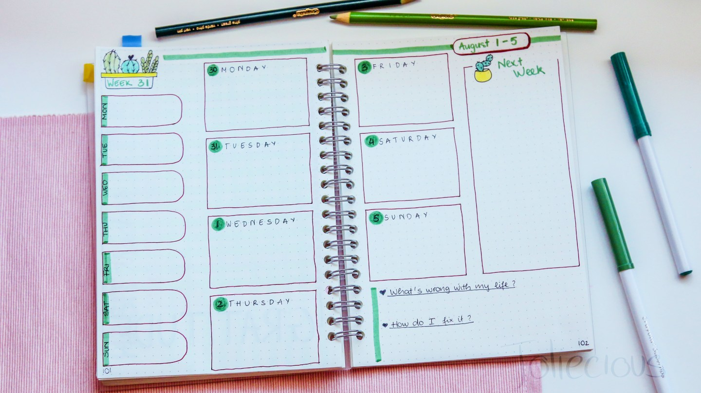 august 2018 bullet journal set up plan with me