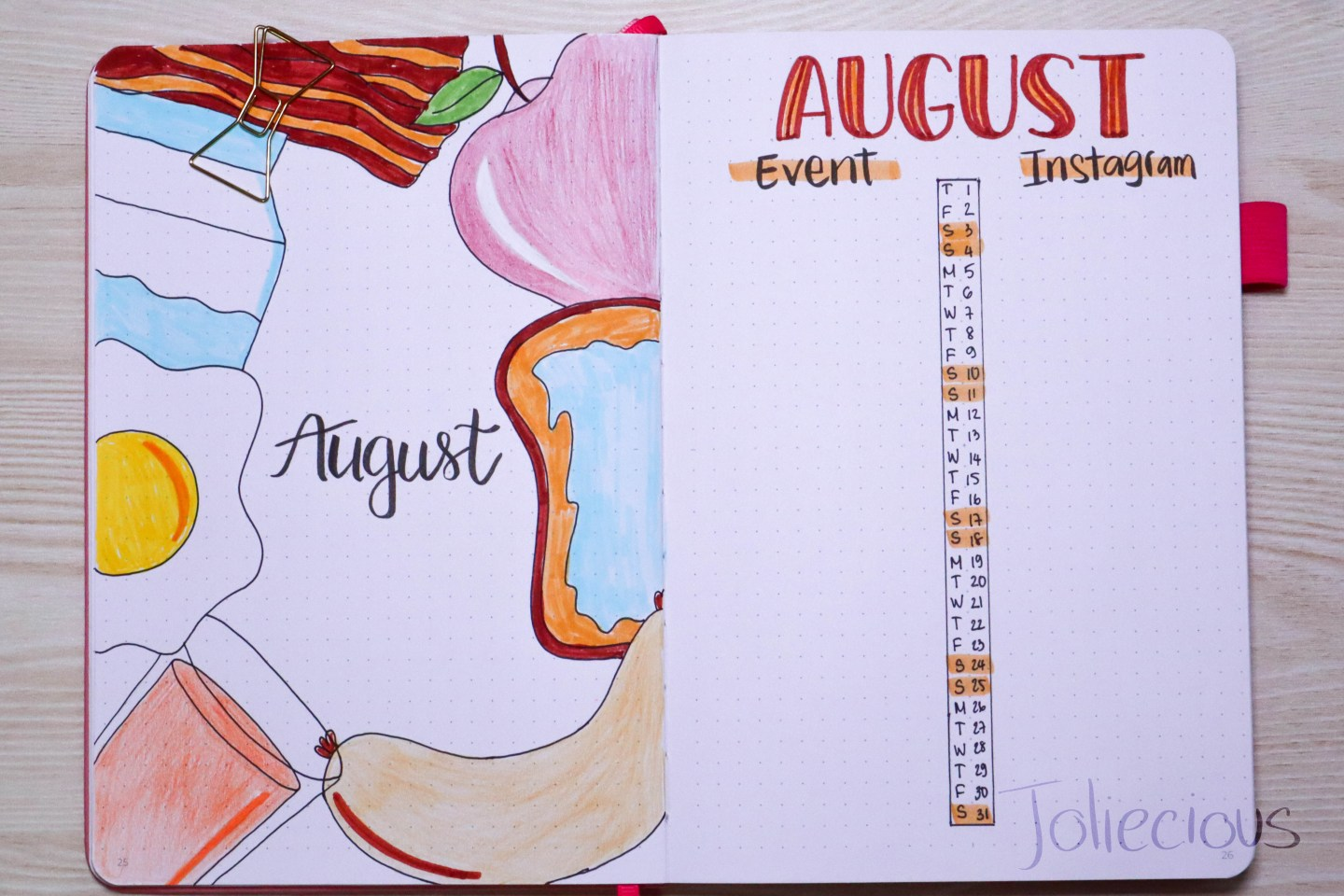 august 2019 bullet journal setup