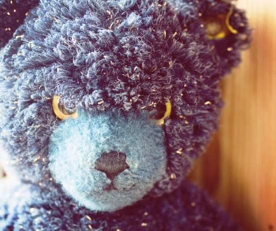 Limited edition Steiff bear with gold glitter detail and angry face