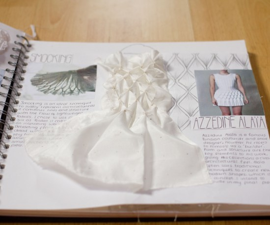 AS textiles smocking sample in scrapbook inspired by Azzedine Alaia