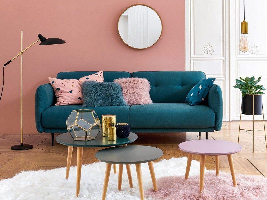 des idees pour un salon en bleu et rose