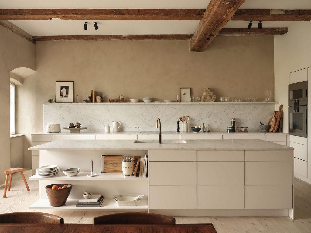 la cuisine beige mise sur le naturel joli place