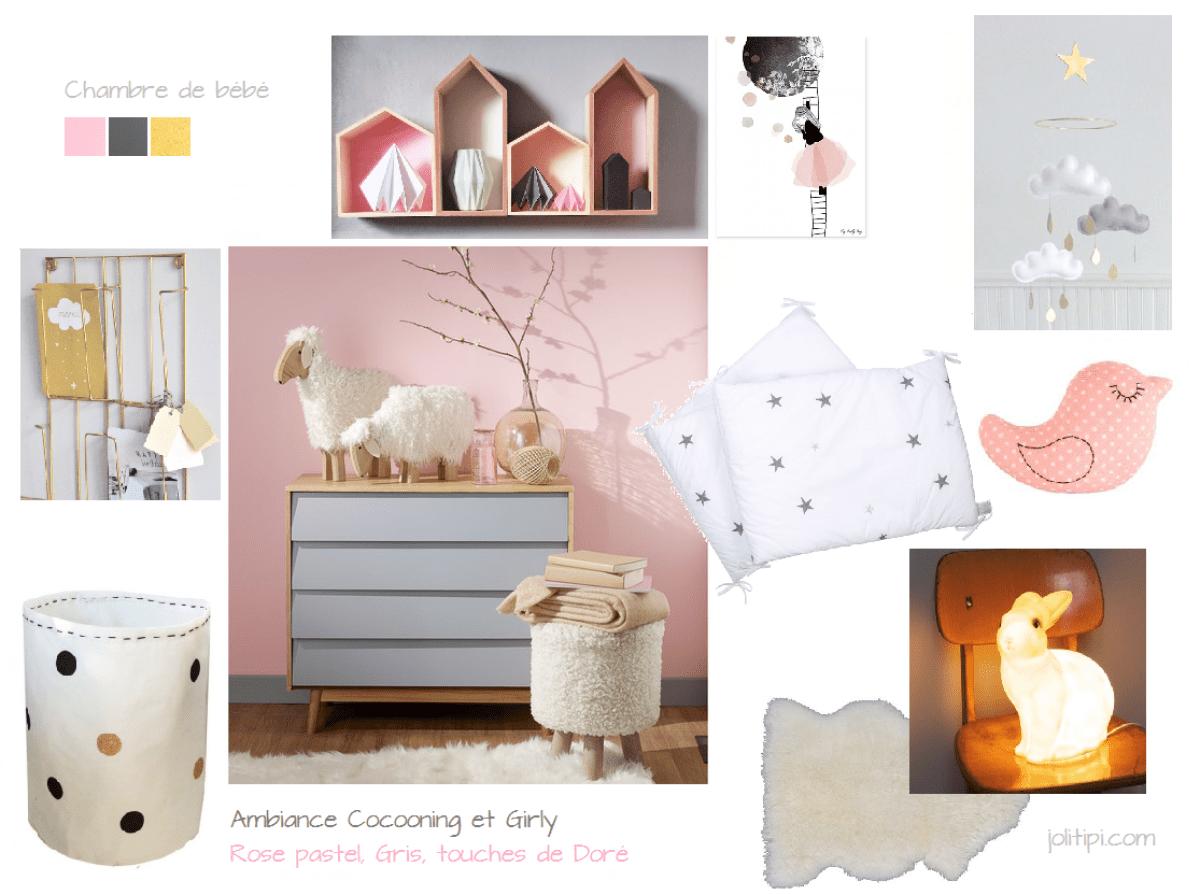 planche-inspiration-chambre-bébé-rose-pastel-doré