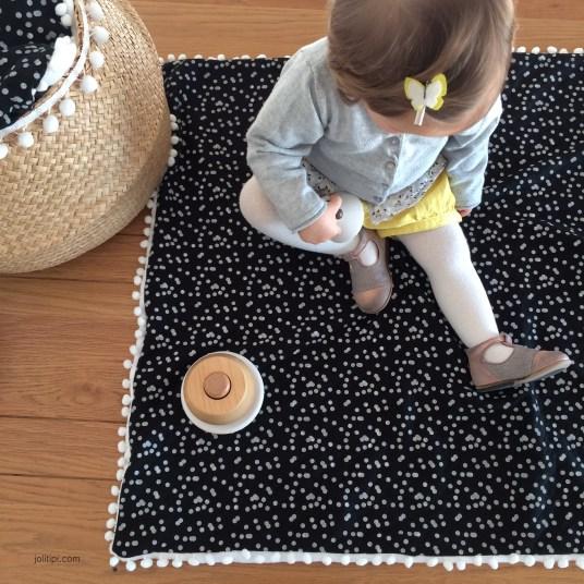 couverture-bebe-matelasse-noir-polaire