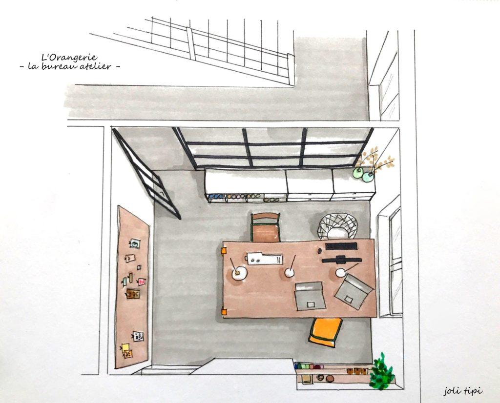 Bureau atelier verrière croquis 3D couleurs aménagement