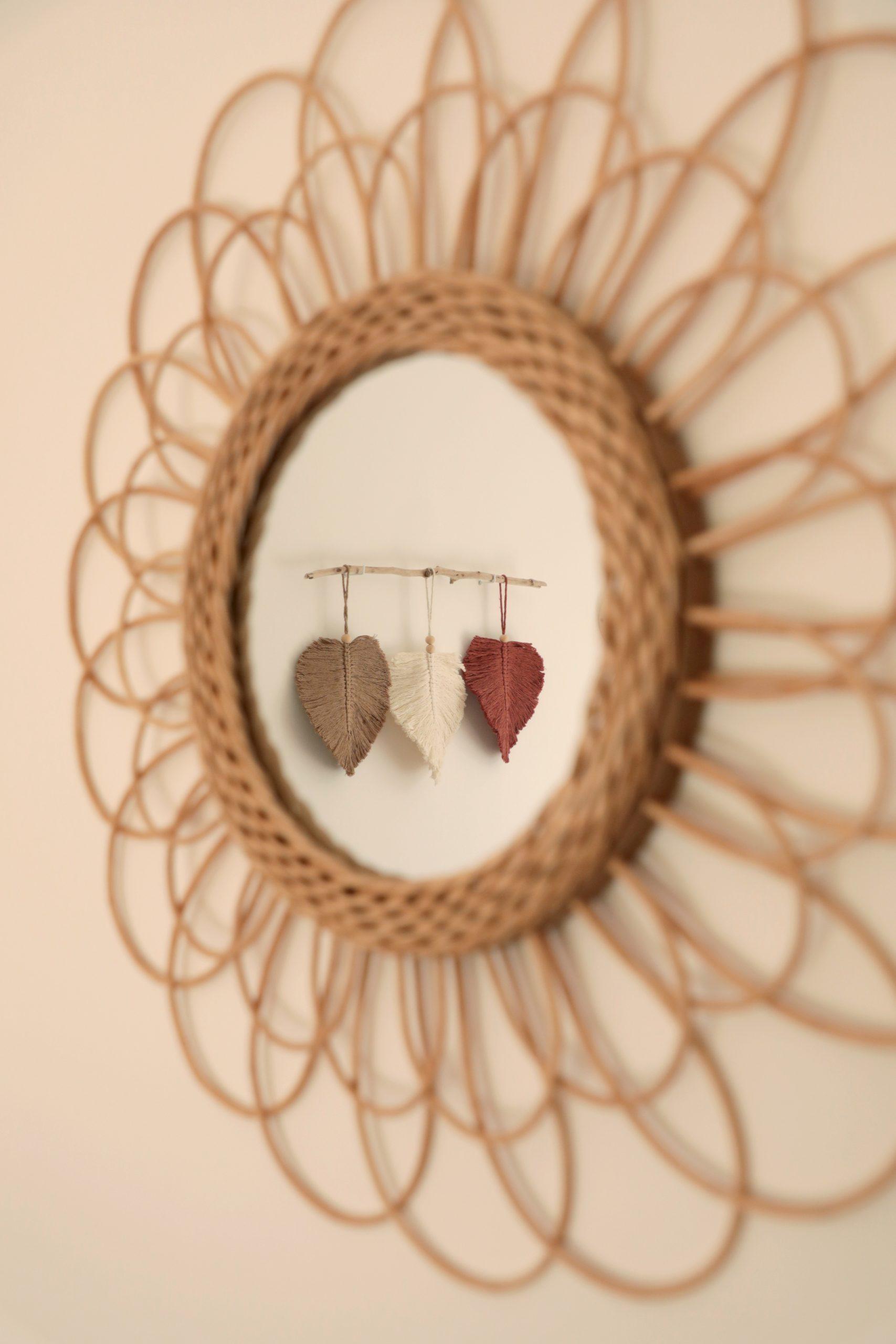 décoration chambre bohème miroir rotin rond