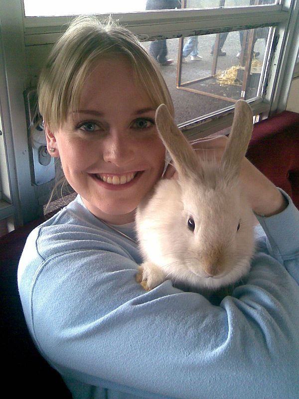 Natasha holding a Bunny from Petwise Petting Zoo