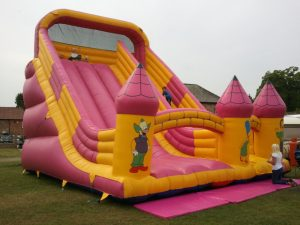 Pink inflatable slide