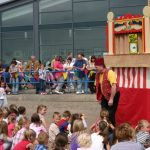 Punch and Judy on the beach at Newbiggin, Northumberland