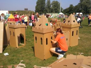 Cardboard castle for kids workshop activity