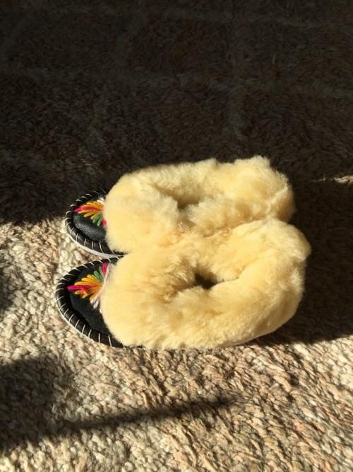 pantoufles fourrées en mouton