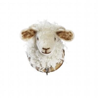 trophée crochet mouton blanc
