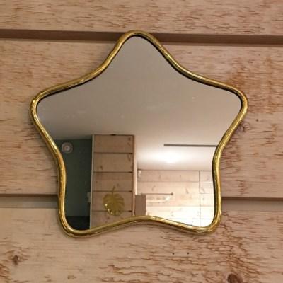 miroir étoile en laiton doré
