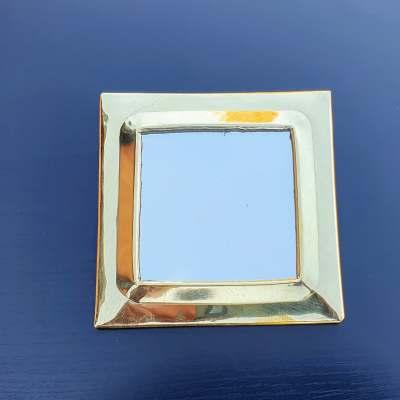 miroir carré en laiton doré