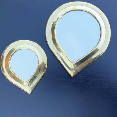 miroirs en laiton doré forme goutte