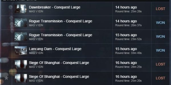 Nota: Round Lancang Dam adalah Half-Time