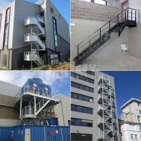 Aluminium Staircase For Exterior Or Interior Use Jomy | External Metal Fire Escape Stairs | Metal Railings | Stock Photo | Stair Railing | External Spiral Staircase | Fire Safety