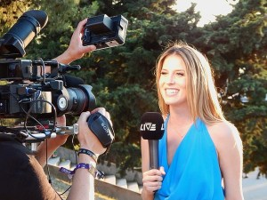 Pretty TV reporter, remote correspondent
