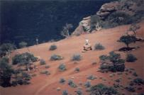 This image was shot through a Meade EXT90 telescope and was taken from the same possition as the previous image. The person standing on the rock is my brother, 1/4 mile down from the canyon's edge.