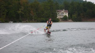 The water was too choppy to do much skiing. This is Jared on a wake board