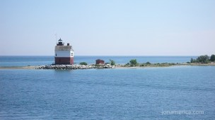 This is a historic lighthouse on Round Island, in the Straits of Mackinac.