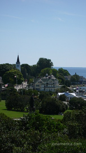 This is a view of the town to the east. More hotels and residences. Fewer tourist shops.