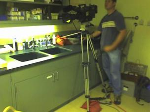 Here we are filming in a conservation lab