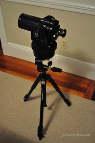 Here is the Meade ETX 90 on the tripod. I ended up removing the scope from it's large, motorized base. This meant making adjustments using the tripod head, which proved more difficult (the base has controls for minute movements); however, it lightened the load considerably.
