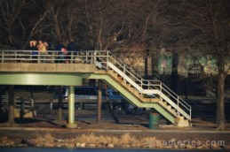 Here are the stairs from across the river. You can see that at this distance it's hard to make out details, like faces, but larger objects are easily discernible.