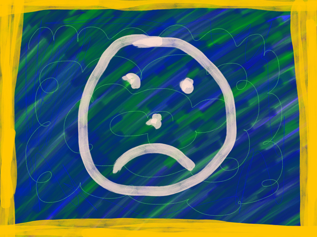 Angry Face on a Blue Background