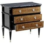 Madison Piano Black Amber Ash Burl Nightstand With Black