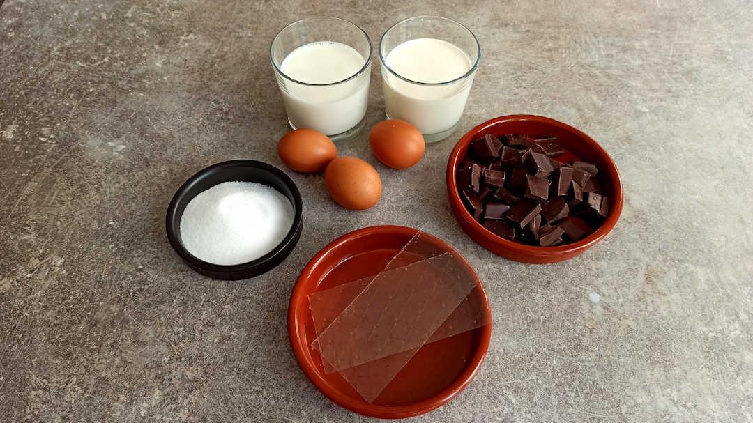 Les ingrédients du crémeux du gâteau au chocolat de Pierre Hermé