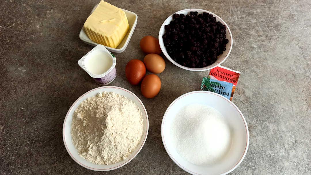 Les ingrédients du gâteau alsacien aux myrtilles Gesundheitkuchen