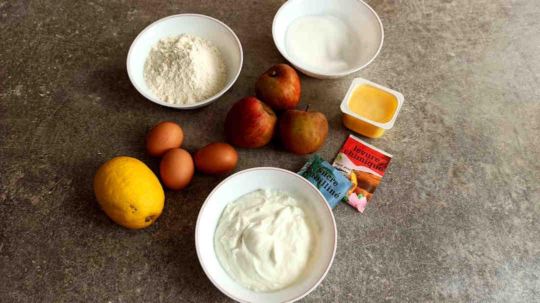 Les ingrédients du gâteau au fromage blanc allégé