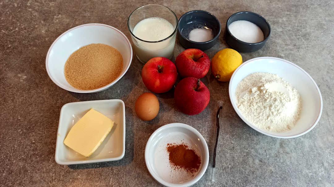 Les ingrédients du moelleux pommes cannelle de Cyril Lignac