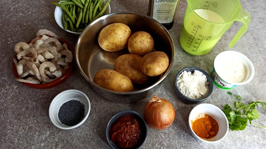 Les ingrédients pour le parmentier de crevettes au curry