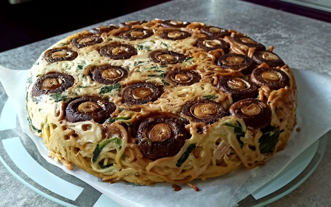 Spaghetti cake aux champignons de Jamie Oliver
