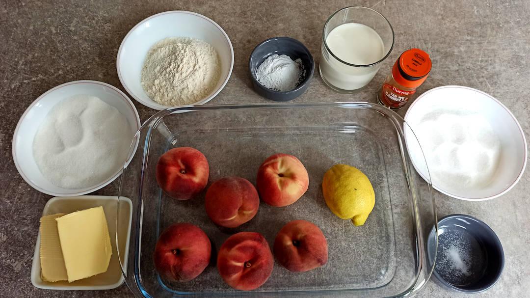 Les ingrédients du peach cobbler