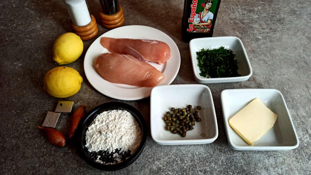 Les ingrédients de la piccata de poulet au citron