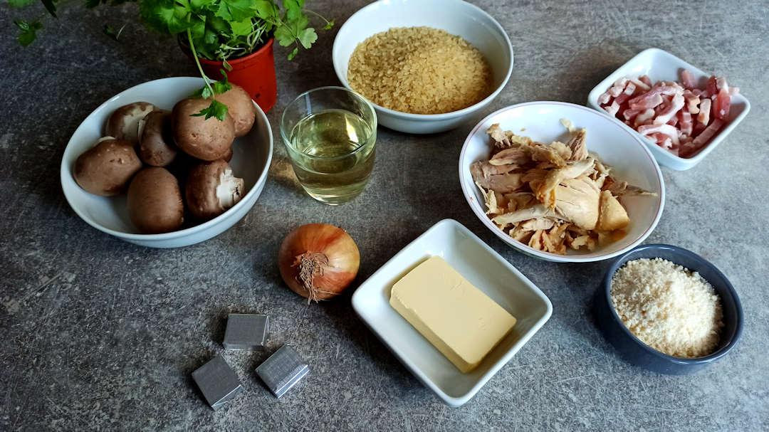 Les ingrédients du risotto au poulet et aux champignons