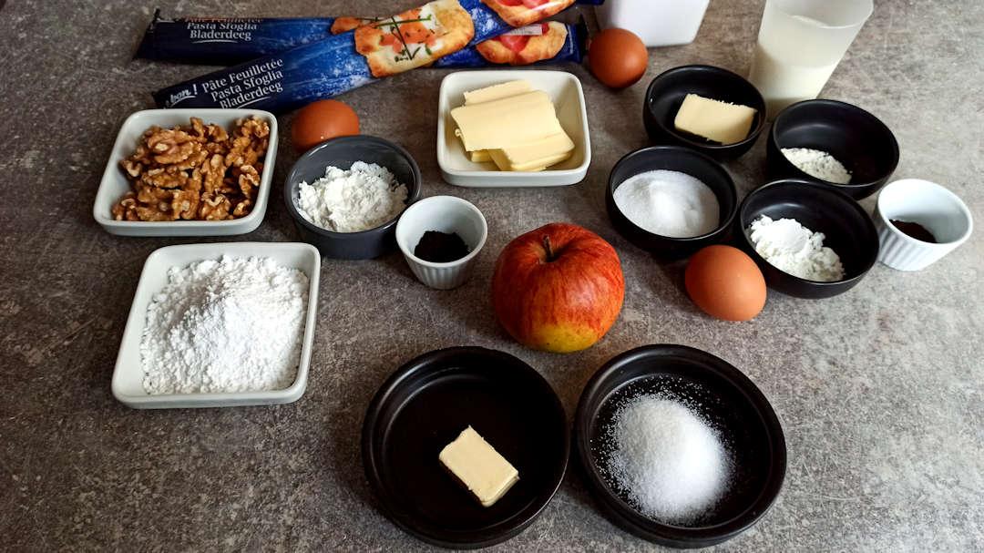 Les ingrédients de la galette des rois aux noix et aux pommes